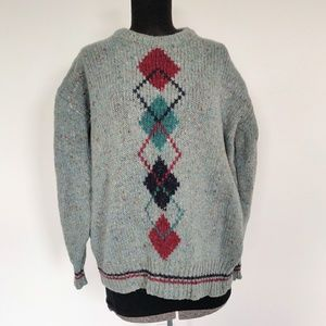 Heritage Irish Chunky Wool Argyle Sweater M
